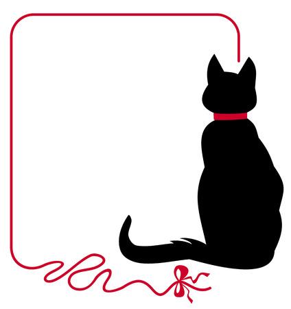 Ilustración de Black cat in red collar is sitting back to the audience - Imagen libre de derechos