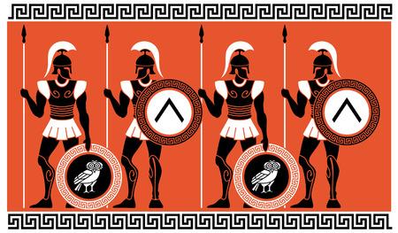 Illustration pour Ancient Greek Warriors - image libre de droit