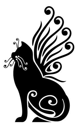 Ilustración de black cat with wings - Imagen libre de derechos
