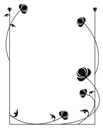 Silhouette floral frame