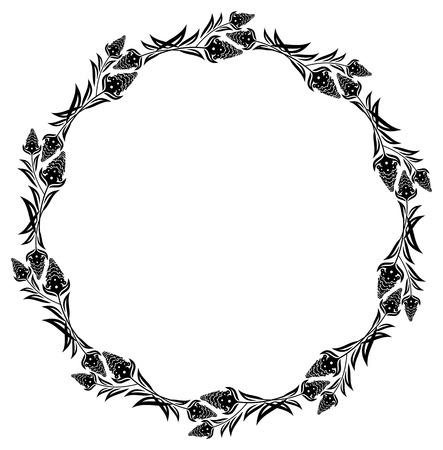 Illustration pour Round floral silhouette frame. Vector clip art. - image libre de droit