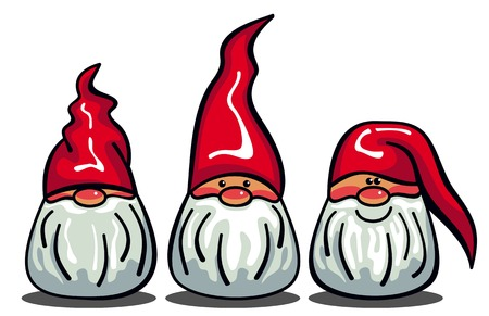 Illustration for Three cute gnomes with white beards and long red hats. Funny characters for Christmas decorations, greetings cards and other design artworks. Vector clip art. - Royalty Free Image