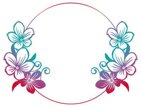 Gradient round frame with abstract flowers silhouettes. Raster clip art.