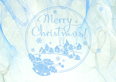 Winter holiday background with greeting text Merry Christmas!. Design element for brochure, advertisements, flyer, web, greeting cards and other graphic designer works. Digital collage. Raster clip art.