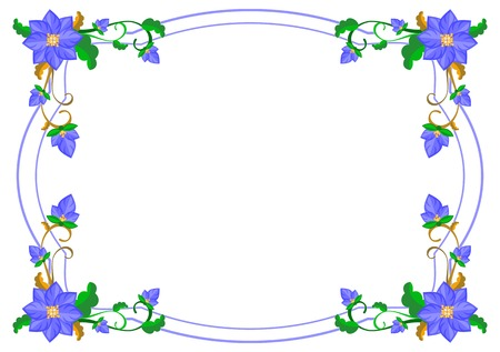 Illustration for Decorative frame with abstract blue flowers. Vector clip art. - Royalty Free Image