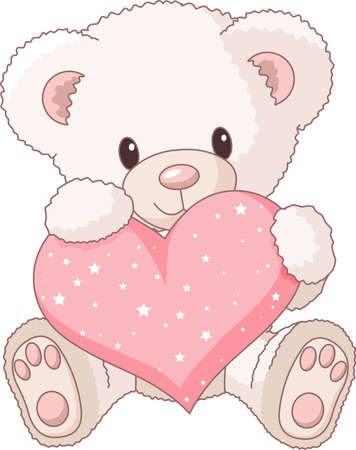 Cute Teddy Bear with pink love heart