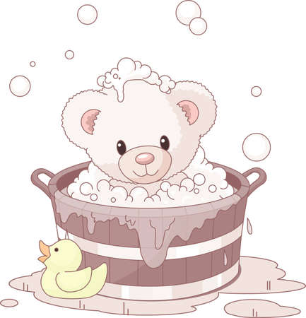 Cute Teddy Bear takes bubble bath