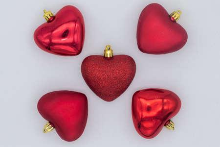 Foto de five red hearts on white background - Imagen libre de derechos