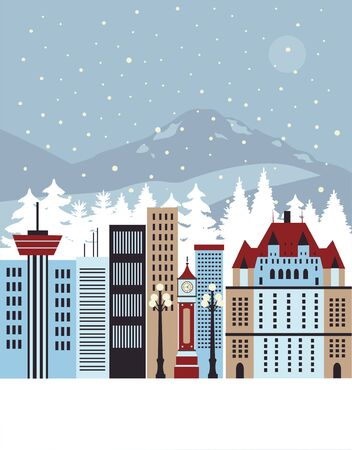 Illustration for Winter city. Vector - Royalty Free Image
