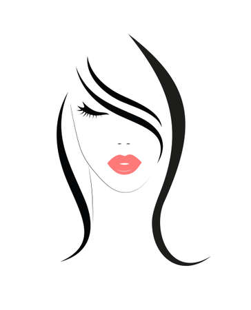 Illustration for Logo of the woman with long hair - Royalty Free Image