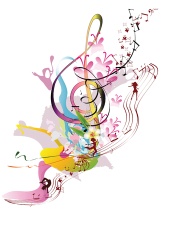 Abstract watercolor treble clef with splashes, flowers and dancing people. Vector illustration.