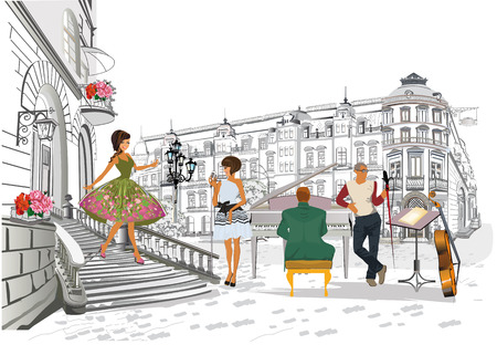 Illustration for Series of the street cafes with fashion people, men and women, in the old city, vector illustration. Waiters serve the tables. - Royalty Free Image