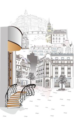Illustration for Series of street views in the old city. Hand drawn vector architectural background with historic buildings. Black & white sketch - Royalty Free Image