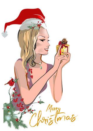 Ilustración de Christmas poster with a beautiful fashion girl with a gift in her hands. Christmas greeting card. Vector illustration. - Imagen libre de derechos