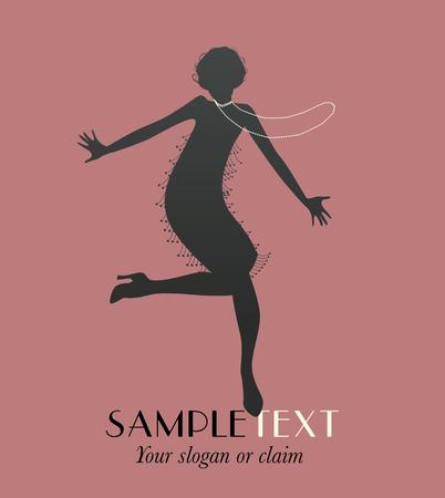 Ilustración de Funny flapper girl dancing silhouette charleston - Imagen libre de derechos