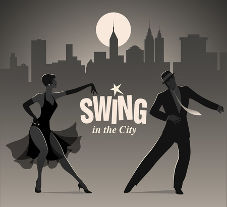Ilustración de Elegant couple dressed in 1950s clothes dancing jazz or swing - Imagen libre de derechos