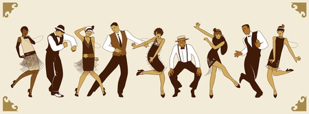 Illustration for Charleston Party. Group of young people dancing charleston - Royalty Free Image