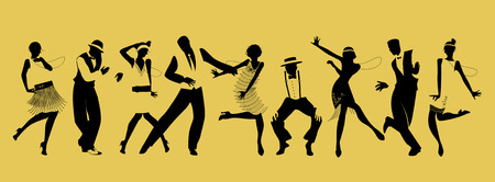 Illustration for Silhouettes of nine people dancing Charleston - Royalty Free Image
