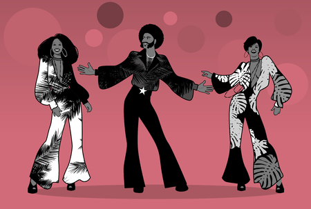 Illustration pour Group of man and two girls dancing soul, funk or disco in Retro style. - image libre de droit