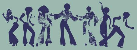 Ilustración de Soul Party Time. Dancers of soul, funk or disco. - Imagen libre de derechos