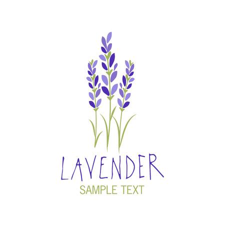 Ilustración de Lavender flower icon design, text hand drawn. - Imagen libre de derechos