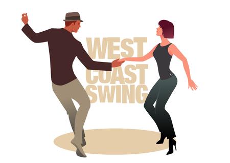 Illustration pour Young couple dancing swing. West Coast Style - image libre de droit