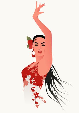 Ilustración de Beautiful Spanish flamenco dancer wearing flowery dress and flower in her hair - Imagen libre de derechos