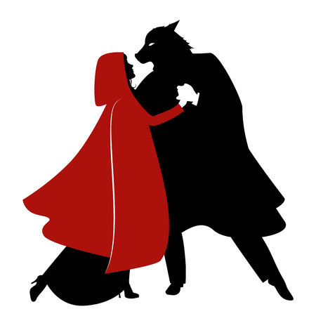 Illustration pour Silhouettes of Little Red Riding Hood and the Wolf dancing isolated - image libre de droit