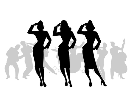 Ilustración de Silhouettes of three army girls in retro style singing, doing military salute. Swing big band on the background - Imagen libre de derechos