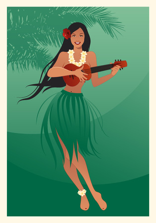 Illustration for Beautiful and smiling Hawaiian girl wearing skirt of leaves playing ukulele and palm tree on green background - Royalty Free Image