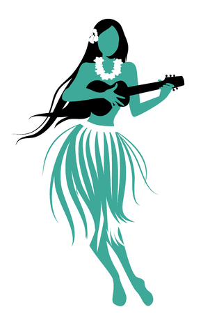 Illustration for Silhouette of Hawaiian girl wearing skirt of leaves playing ukulele isolated on white background. - Royalty Free Image