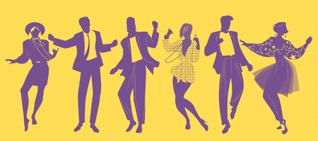 Illustration pour Silhouettes of people dancing new wave music wearing clothes in the style of the 80s  - image libre de droit