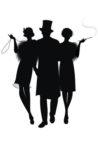 Illustration for Silhouette of two flapper girls and elegant gentleman with top hat. Girl with long necklace and girl smoking a pipe. Isolated on white background - Royalty Free Image