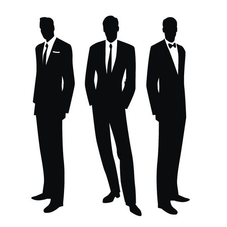 Illustration pour Silhouettes of three men in the retro style of the 50s or 60s isolated on white background - image libre de droit