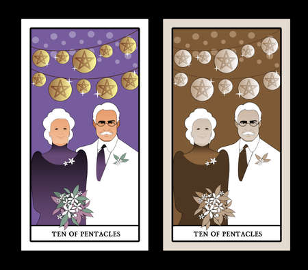 Ilustración de Ten of pentacles. Tarot cards. Elegant and happy elderly couple, under bright lights and ten golden pentacles - Imagen libre de derechos