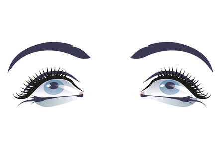 Ilustración de Nice makeup eyes and eyebrows isolated on white background - Imagen libre de derechos