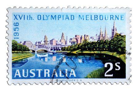 closeup image of postal stamp from australia
