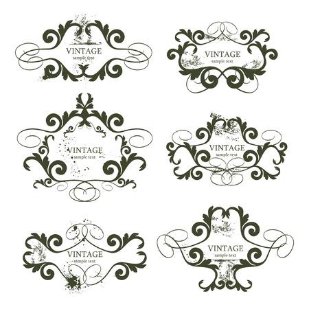 Foto de curly grunge vintage frames - vector illustration - Imagen libre de derechos