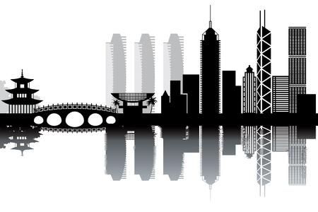 Hon Kong skyline - black and white illustration