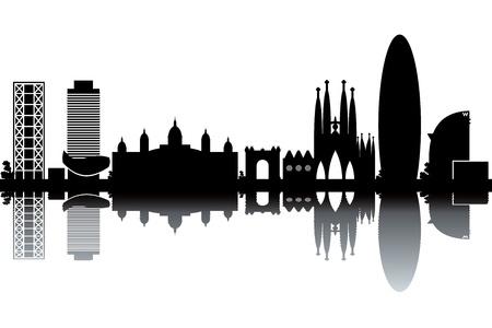 Barcelona skyline - black and white illustration