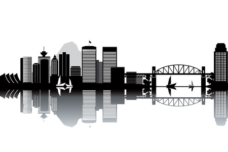 Vancouver skyline - black and white vector illustration