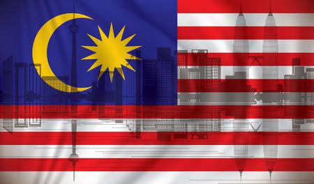 Flag of Malaysia with Kuala Lumpur skyline - vector illustration