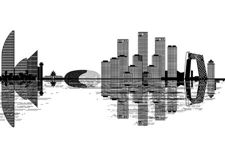 Illustration pour Beijing skyline - black and white vector illustration - image libre de droit