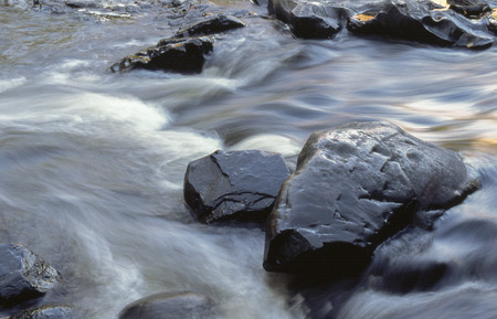 Water runs swiftly through the Dells of the Eau Claire River.