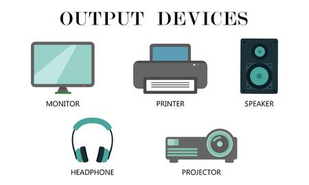 Illustration pour Output Devices icon set. Monitor,Printer,Speaker,Headphone and projector drawing by illustration - image libre de droit