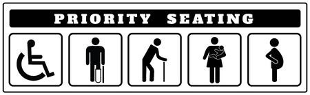 Illustration pour priority seating icons for Sticker, Disable, passenger elderly, passenger, pregnant,old man, woman with infant - image libre de droit