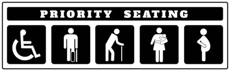 Illustration pour priority seating icons for Sticker on black background, Disable, passenger elderly, passenger, pregnant,old man, woman with infant - image libre de droit