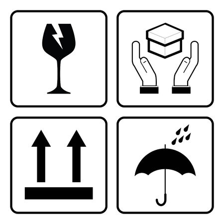 Illustration pour International Packing Symbols. (Fragile icon, Handle with care icon, Keep dry icon, This side up icon) - image libre de droit