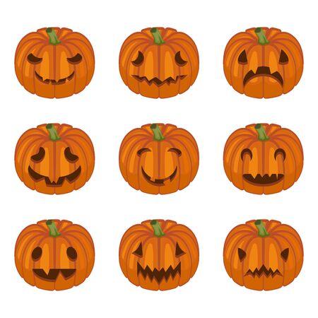 Illustration pour Halloween pumpkin faces. Pumpkin characters. Sad, creepy, angry, funny faces. Vector set in cartoon style. - image libre de droit