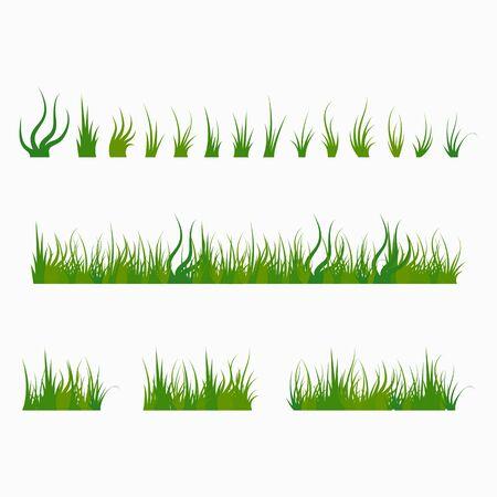 Illustration pour Set of green tufts grass, herbaceous plants. Design elements isolated on white background. Vector illustration. - image libre de droit